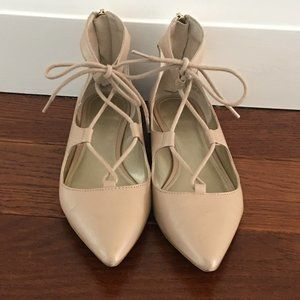 Saks Fifth Avenue Blush Pink tie up flats 5.5